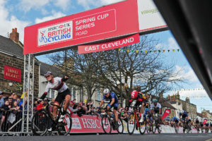 Harry Tanfield sprints to third place in the East Cleveland Klondike Grand Prix in Guisborough